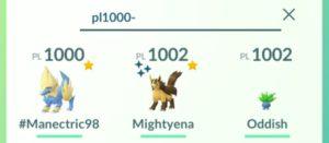 Ricerca Pokémon per numero minimo di PL